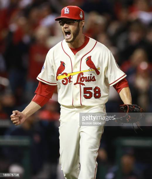 Cardinals starting pitcher Joe Kelly reacts after striking out Red Sox Daniel Nava in the fourth inning The St Louis Cardinals host the Boston Red...