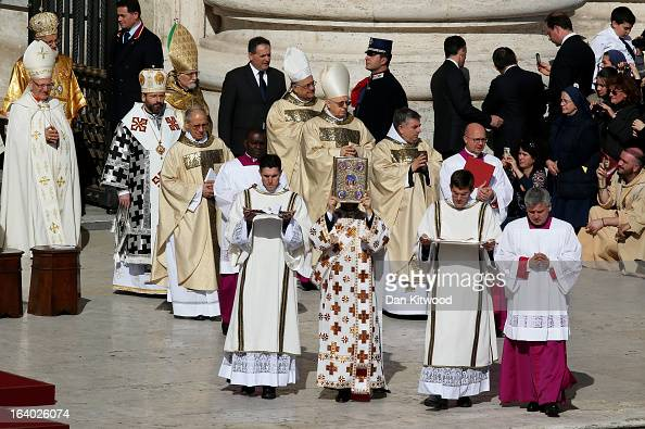 Cardinals take part in the Inauguration Mass for Pope Francis in St Peter's Square on March 19 2013 in Vatican City Vatican The mass is being held in...