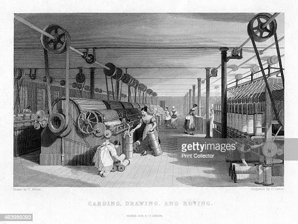 'Carding Drawing and Roving' 19th century Scene in a Victorian textiles factory with looms powered by steam