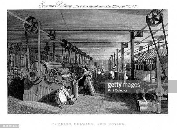 Carding drawing and roving cotton c1830 A carding engine delivers cotton in a single sliver The factory is operated by shafts and belting which could...
