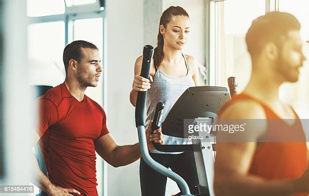 Cardio workout in a gym.