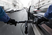 Car-dooring -- Cyclist on a collision course with car door