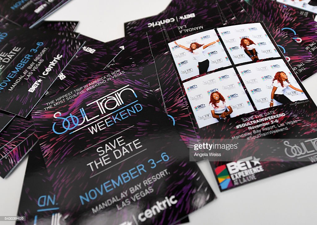 Cards advertising the Soul Train Weekend are displayed at FAN FEST during the 2016 BET Experience on June 25, 2016 in Los Angeles, California.