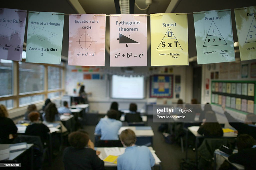 Cards displaying maths theories are displayed in a class room at a secondary school on December 1, 2014 in London, England. Education funding is expected to be an issue in the general election in 2015.