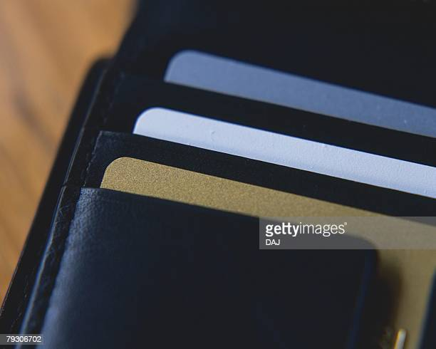 Cards in a wallet, Close Up, High Angle View