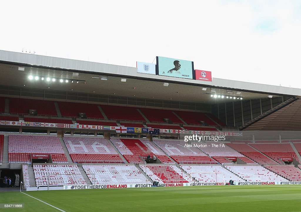 Cards laid out on seats prior to the International Friendly match between England and Australia at Stadium of Light on May 27, 2016 in Sunderland, England.
