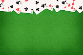 Cards on green felt casino table background. Template with copy space in center