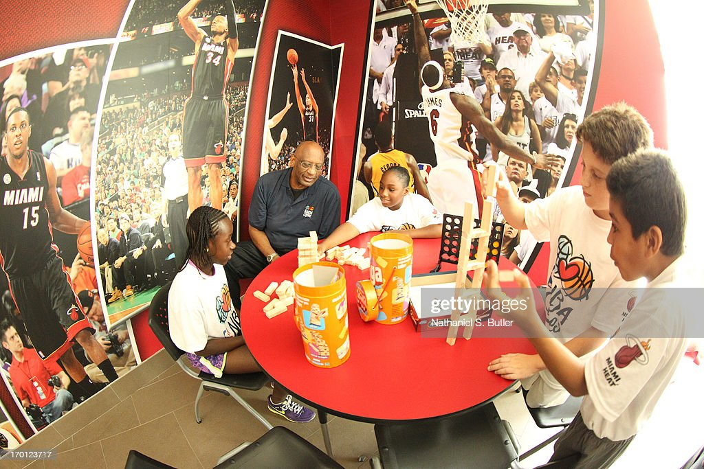 NBA Care Ambassador Bob Lanier interacts with some kids at the 2013 NBA Finals Legacy Project as part of the 2013 NBA Finals on June 7, 2013 at the Joe Celestin Center in Miami, Florida.