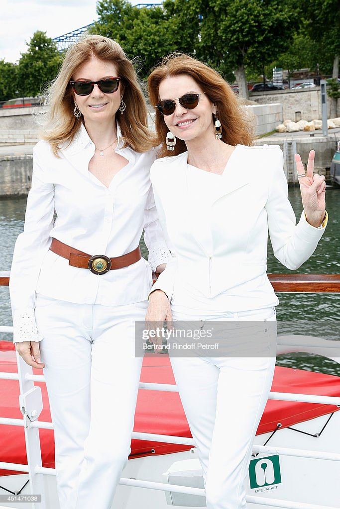 Care France President, Baroness Arielle de Rothschild and actress Cyrielle Clair attend the 'Brunch Blanc' hosted by Barriere Group. Held on Yacht 'Excellence' on June 29, 2014 in Paris, France.