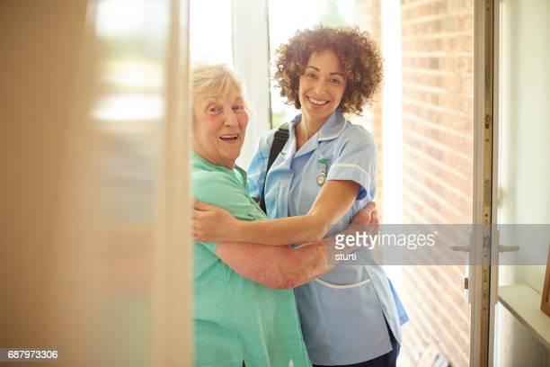 care nurse and friendly patient