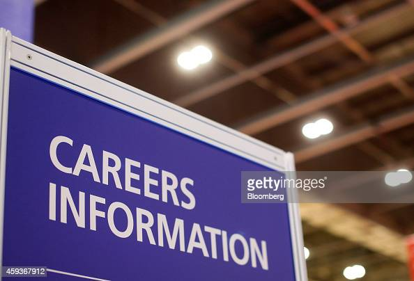 A Careers Information display board stands at the Skills London job fair in London UK on Friday Nov 21 2014 UK unemployment held at a sixyear low in...