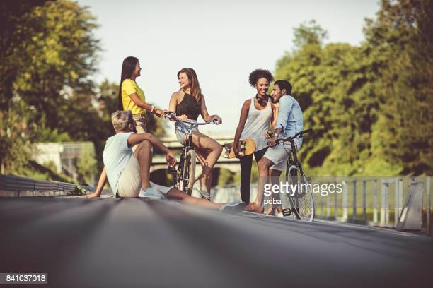 Carefree and happy friends on the street