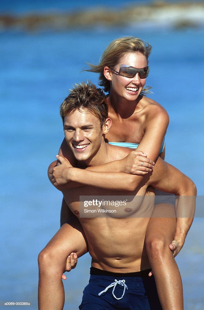 Carefree Couple by the Sea : Stock Photo