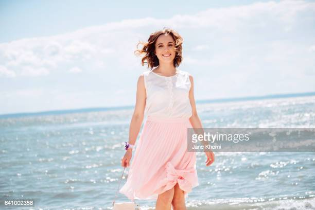 Carefree woman at beach