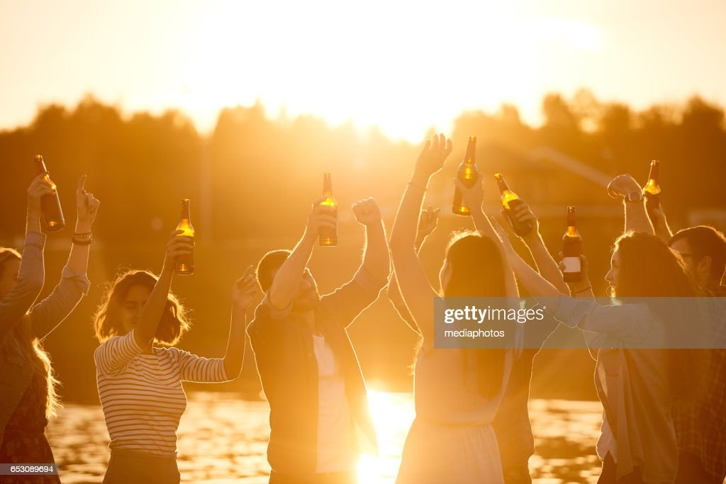 Carefree young people dancing : Stock Photo