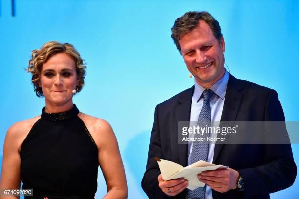 Caren Miosga and Mathias Mueller von Blumencron speak on stage at the Nannen Award 2017 on April 27 2017 in Hamburg Germany