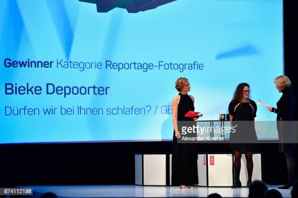 Caren Miosga 'Best Reportage Photography' Award Winner Bieke Depoorter and jury member Regina Schmecken speak on stage at the Nannen Award 2017 on...