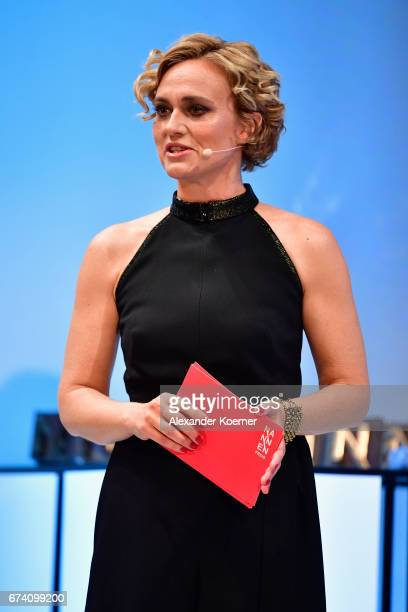Caren Miosga speaks on stage at the Nannen Award 2017 on April 27 2017 in Hamburg Germany