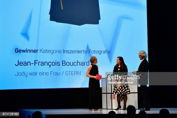 Caren Miosga with STERN Art Director Frances Uckermann who accepted the 'Photography' Award on behalf of JeanFrancois Bouchard and jury member...