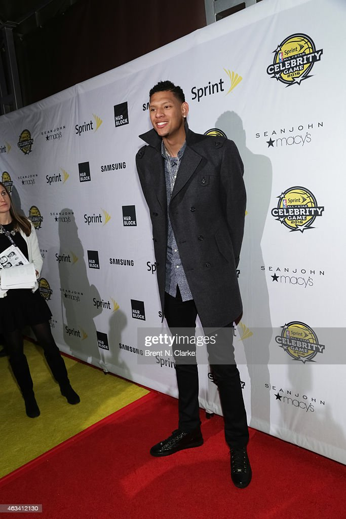 Cares Ambassador Isaiah Austin arrives for the NBA AllStar Celebrity Basketball Game 2015 at Madison Square Garden on February 13 2015 in New York...