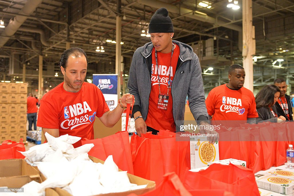 Cares Ambassador, <a gi-track='captionPersonalityLinkClicked' href=/galleries/search?phrase=Isaiah+Austin&family=editorial&specificpeople=9082709 ng-click='$event.stopPropagation()'>Isaiah Austin</a> participates during NBA Cares All-Star Day of Service as part of 2016 All-Star Weekend at NBA Centre Court of the Enercare Centre on February 12, 2016 in Toronto, Ontario, Canada.