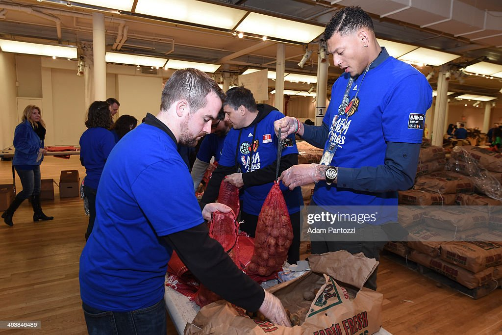 Cares Ambassador Isaiah Austin participates in the NBA Cares AllStar Day of Service at the Metropolitan Pavilion on February 13 2015 in New York New...