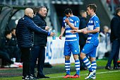 caretaker Erwin Vloedgraven of PEC Zwolle coach Ron Jans of PEC Zwolle Dirk Marcellis of PEC Zwolle Wout Brama of PEC Zwolle during the Dutch...