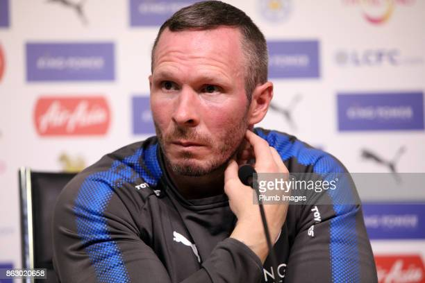 Caretaker manager Michael Appleton during the Leicester City press conference at King Power Stadium on October 19 2017 in Leicester United Kingdom