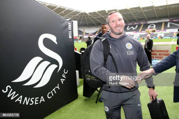 Caretaker Manager Michael Appleton of Leicester City arrives at Liberty Stadium ahead of the Premier League match between Swansea City and Leicester...