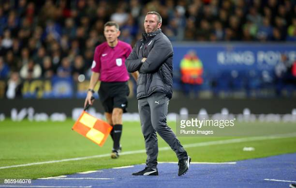 Caretaker manager Michael Appleton of Leicester City during the Carabao Cup match between Leicester City and Leeds United at King Power Stadium on...