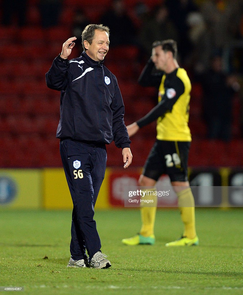 Caretaker Manager of Sheffield Wednesday Stuart Gray celebrates at the end of the Sky Bet Championship match between Watford and Sheffield Wednesday at Vicarage Road on December 14, 2013 in Watford, England,
