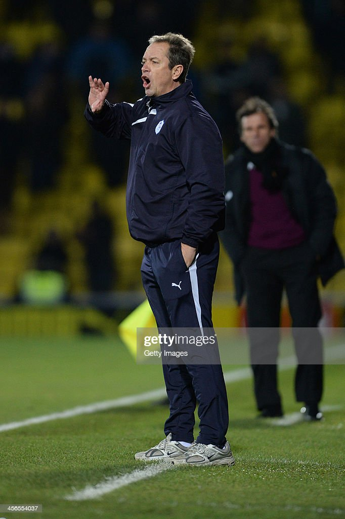 Caretaker Manager of Sheffield Wednesday Stuart Gray issues instructions during the the Sky Bet Championship match between Watford and Sheffield Wednesday at Vicarage Road on December 14, 2013 in Watford, England,
