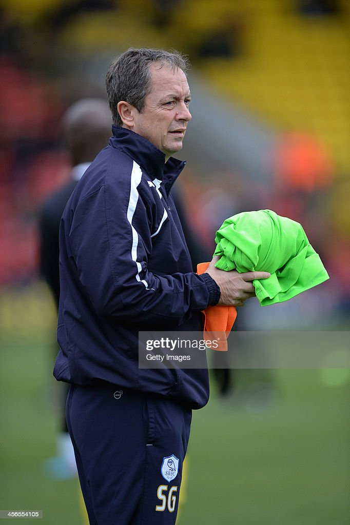 Caretaker Manager of Sheffield Wednesday Stuart Gray looks on prior to the Sky Bet Championship match between Watford and Sheffield Wednesday at Vicarage Road on December 14, 2013 in Watford, England,