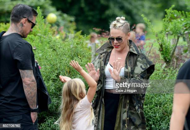 Carey Hart Pnk and Willow Sage Hart arrive in London ahead of headlining V Festival at Hyde Park on August 14 2017 in London England