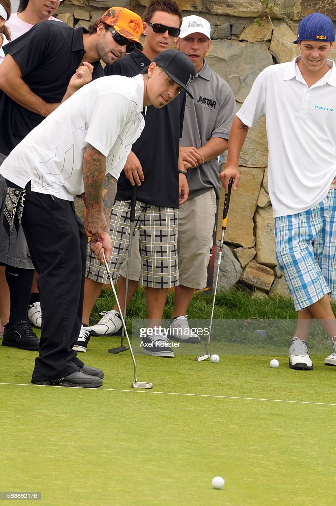 Carey Hart tees off at the X Games Celebrity Skins Classic golf tournament for charity at Trump National Golf Club in Rancho Palos Verdes