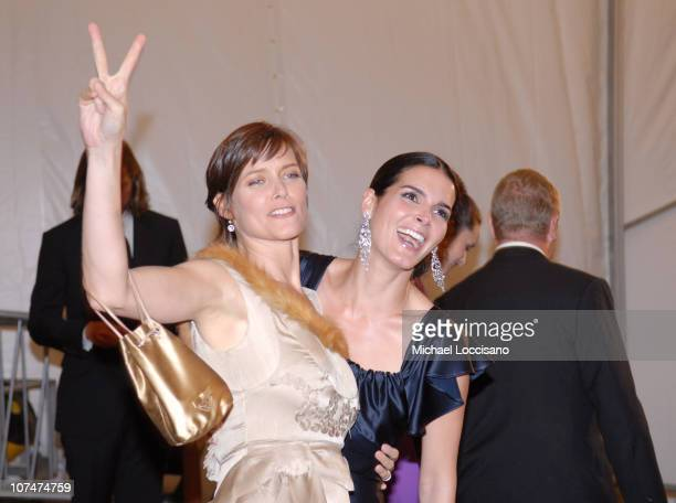 Carey Lowell and Angie Harmon during 'AngloMania' Costume Institute Gala at The Metropolitan Museum of Art Departures Celebrating 'AngloMania...
