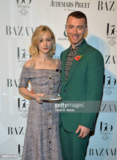 Carey Mulligan and Sam Smith attend Harper's Bazaar Women of the Year Awards 2017 Sponsored by Audemars Piguet on November 2 2017 in London England