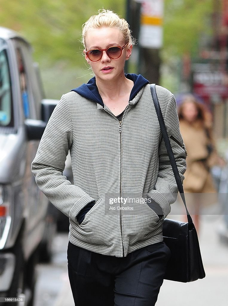 Carey Mulligan is seen in the East Village on April 18, 2013 in New York City.