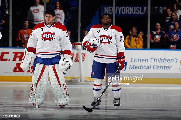 Carey Price and PK Subban of the Montreal Canadiens prepare to play against the New York Islanders at the Nassau Veterans Memorial Coliseum on...