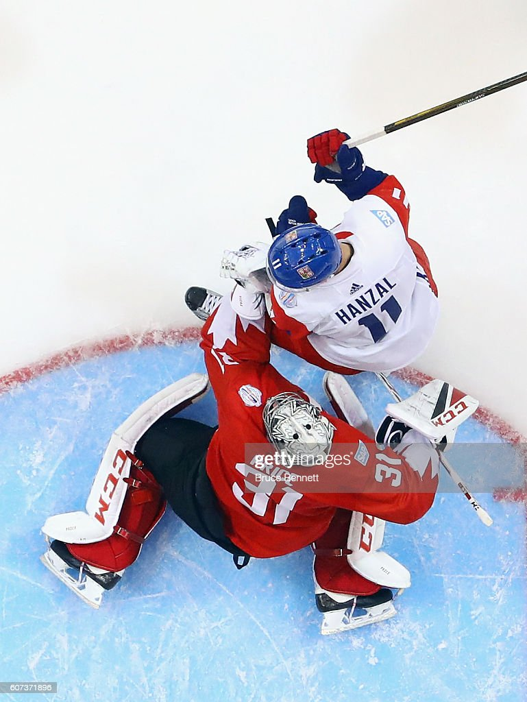 Carey Price #31 of Team Canada and Martin Hanzal #11 of Team Czech Republic battle in the crease during the World Cup of Hockey tournament at the Air Canada Centre on September 17, 2016 in Toronto, Canada.