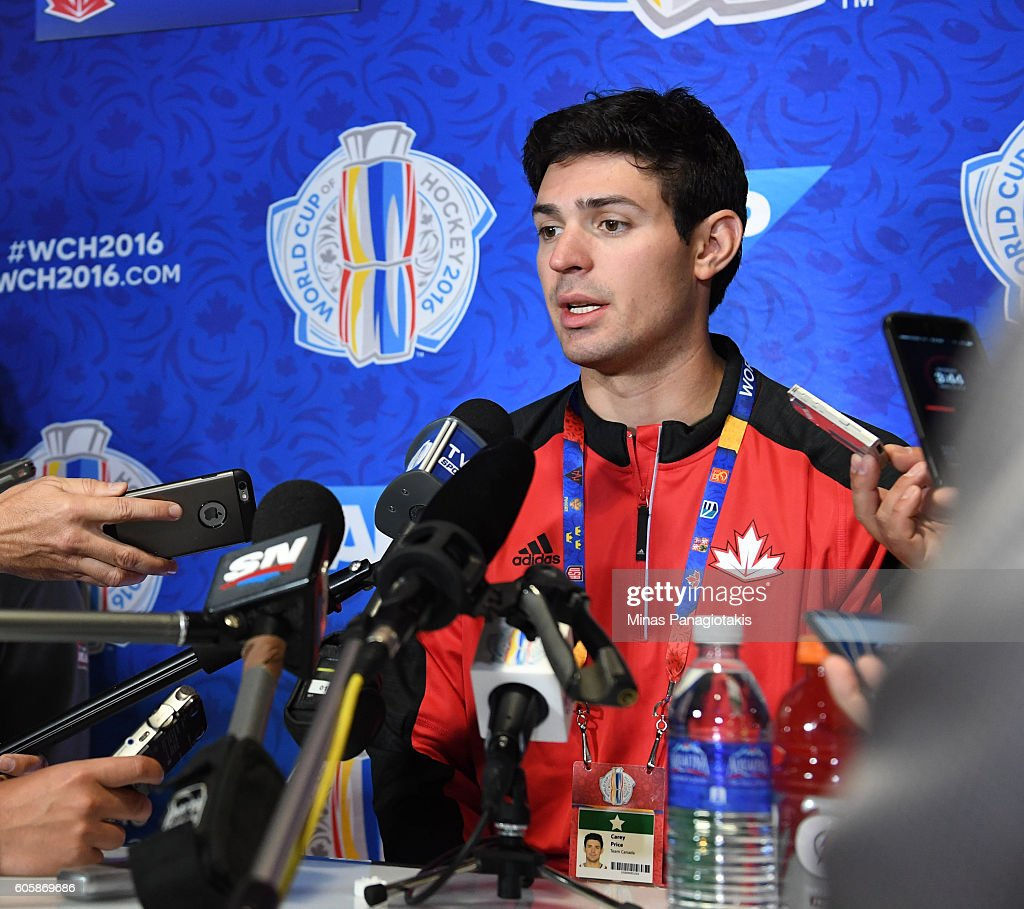 Carey Price of Team Canada answers questions during Media day at the World Cup of Hockey 2016 at Air Canada Centre on September 15, 2016 in Toronto, Ontario, Canada.