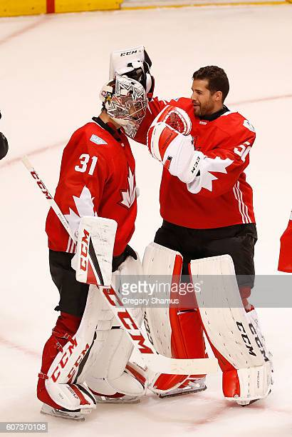 Carey Price of Team Canada celebrates a 60 win over Team Czech Republic Corey Crawford during the World Cup of Hockey at the Air Canada Center on...