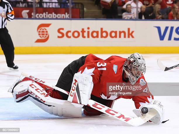Carey Price of Team Canada dives to cover a loose puck against Team Czech Republic during the World Cup of Hockey 2016 at Air Canada Centre on...