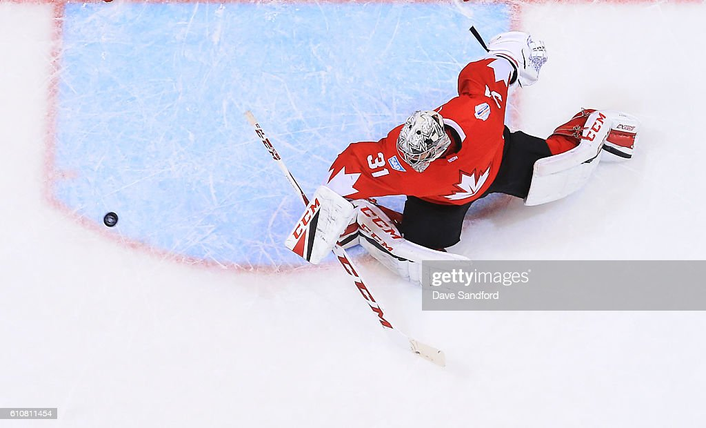 Carey Price #31 of Team Canada makes a save against Team Europe during Game One of the World Cup of Hockey 2016 final series at Air Canada Centre on September 27, 2016 in Toronto, Canada.