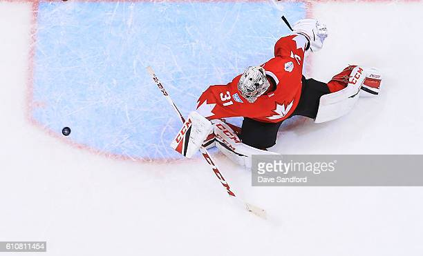 Carey Price of Team Canada makes a save against Team Europe during Game One of the World Cup of Hockey 2016 final series at Air Canada Centre on...