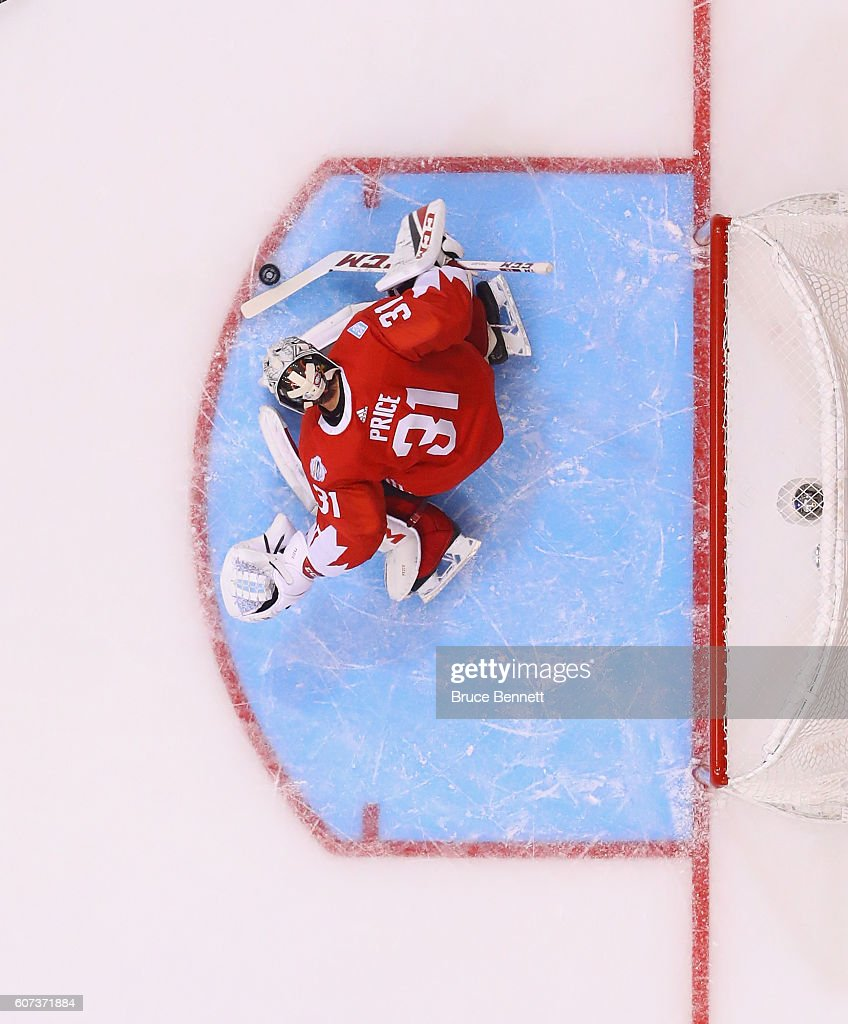 Carey Price #31 of Team Canada makes the save against the Team Czech Republic during the World Cup of Hockey tournament at the Air Canada Centre on September 17, 2016 in Toronto, Canada.