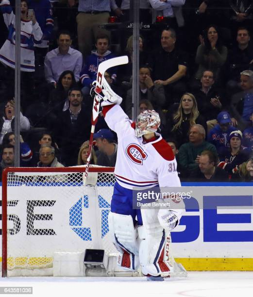 Carey Price of the Montreal Canadiens celebrates a 32 shootout victory over the New York Rangers at Madison Square Garden on February 21 2017 in New...