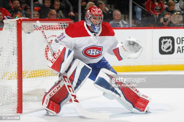 Carey Price of the Montreal Canadiens defends his goal against the Minnesota Wild during the game at the Xcel Energy Center on November 2 2017 in St...