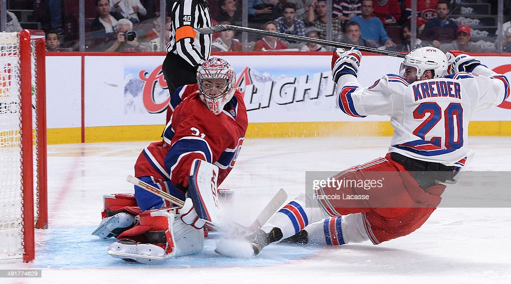 Carey Price #31 of the Montreal Canadiens defends the goal against Chris Kreider #20 of the New York Rangers in Game One of the Eastern Conference Final during the 2014 Stanley Cup Playoffs at the Bell Centre on May 17, 2014 in Montreal, Quebec, Canada.