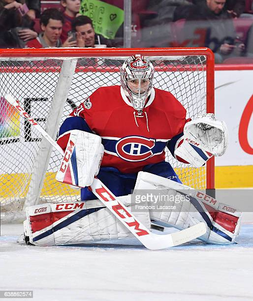 Carey Price of the Montreal Canadiens defends the goal against the New York Rangers in the NHL game at the Bell Centre on January 14 2017 in Montreal...